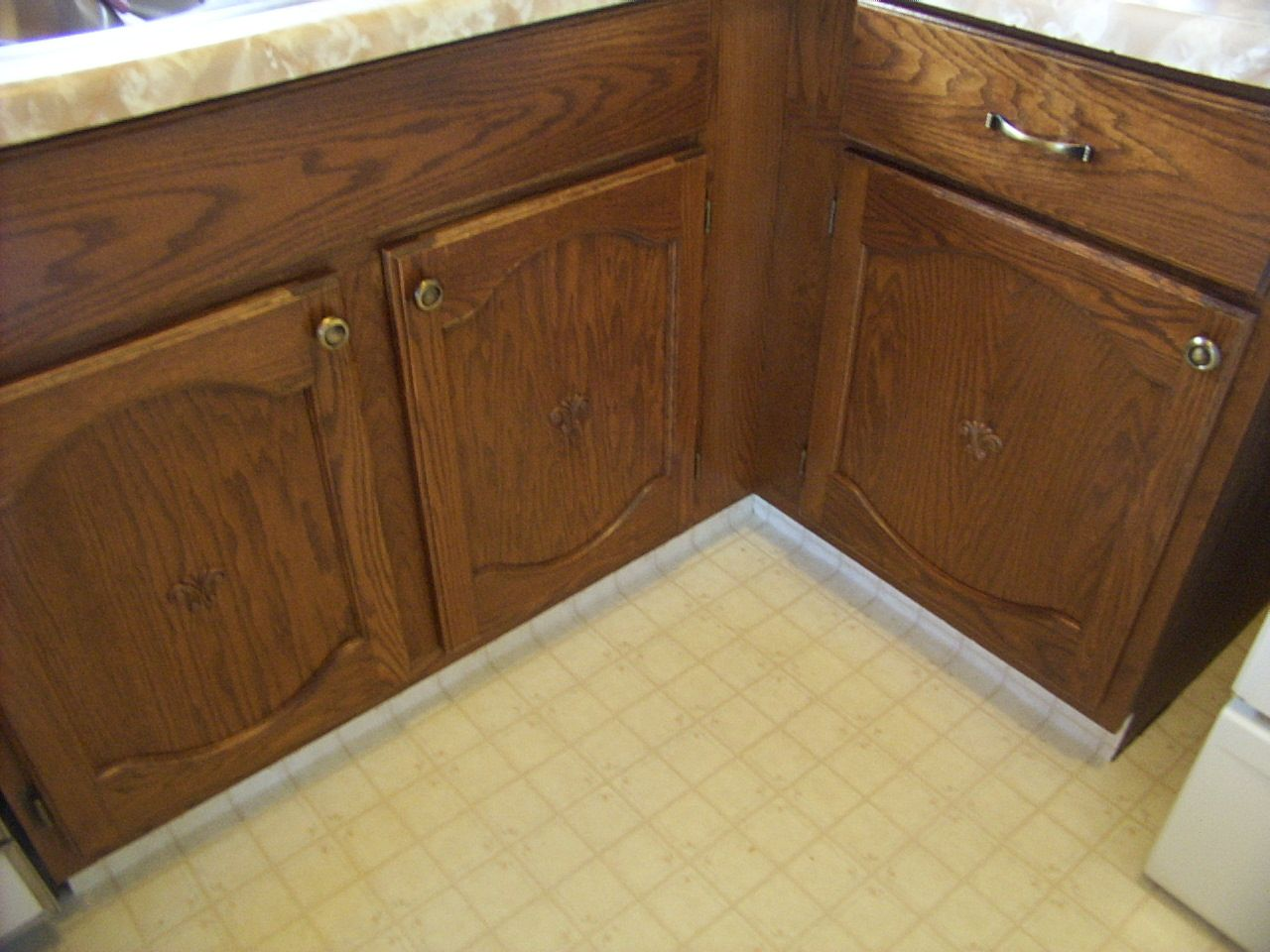 Kitchen refinished cabinet doors and drawers.