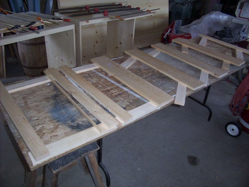 Mortise and tenon solid pine door parts.