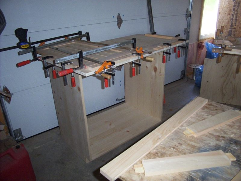 Glued up panels in clamps.