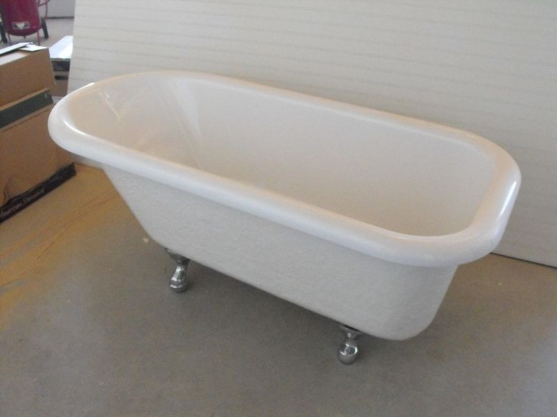 Fiberglass claw foot bathtub.