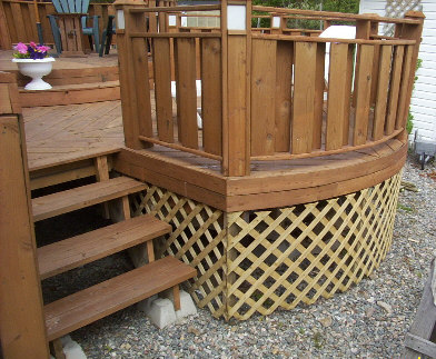 DIY deck construction.