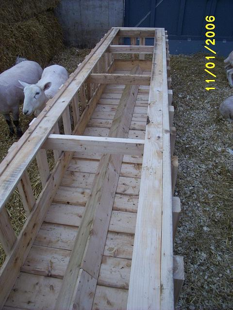 Sheep barn feed bin.