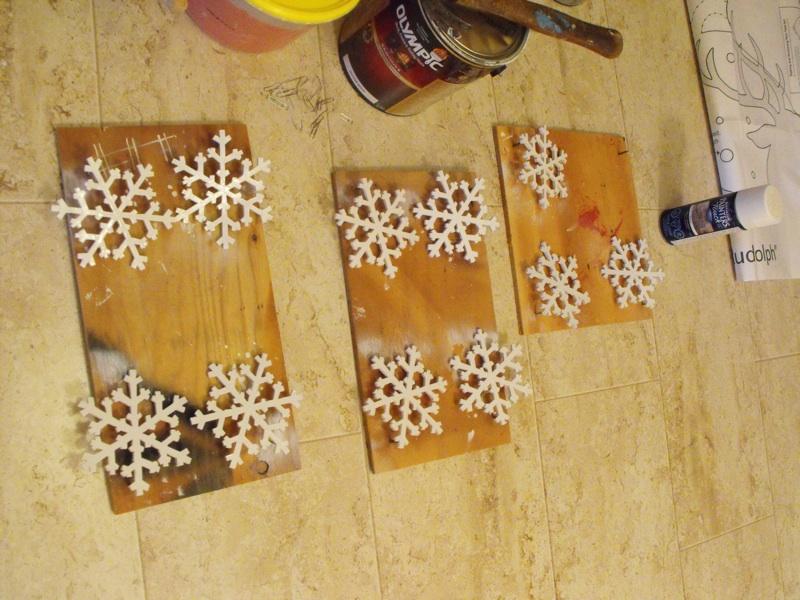 Sprayed snowflakes.