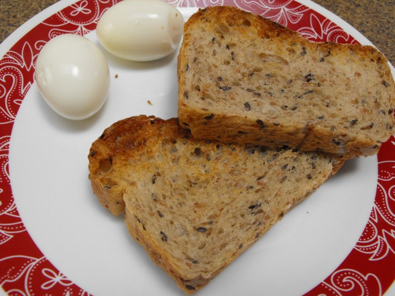 Canadian Harvest Heart bread with breakfast.