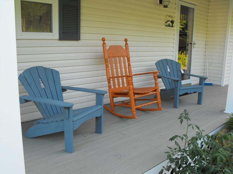 Orange rocking chair.