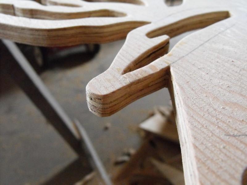 Repaired plywood veneer.