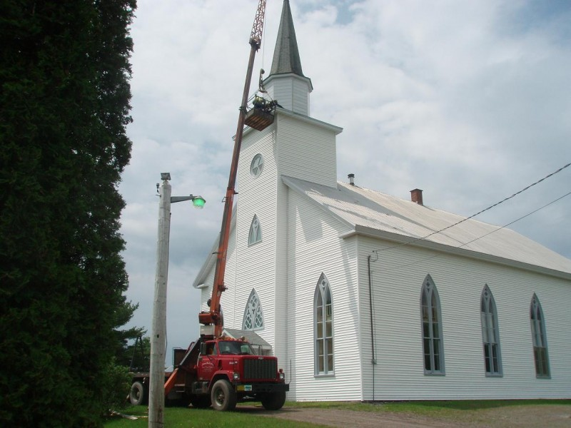 Steeple repairs at Kings United Church, Loch Katrine, Nova Scotia, Canada