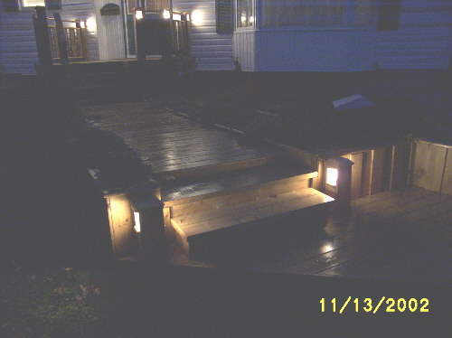Night deck walkway lighting.