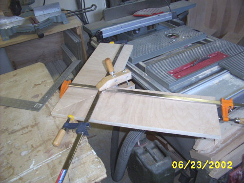 Clamping a mitered corner.
