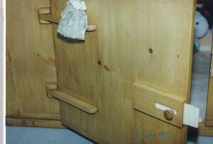 Solid wood hinges and latch.