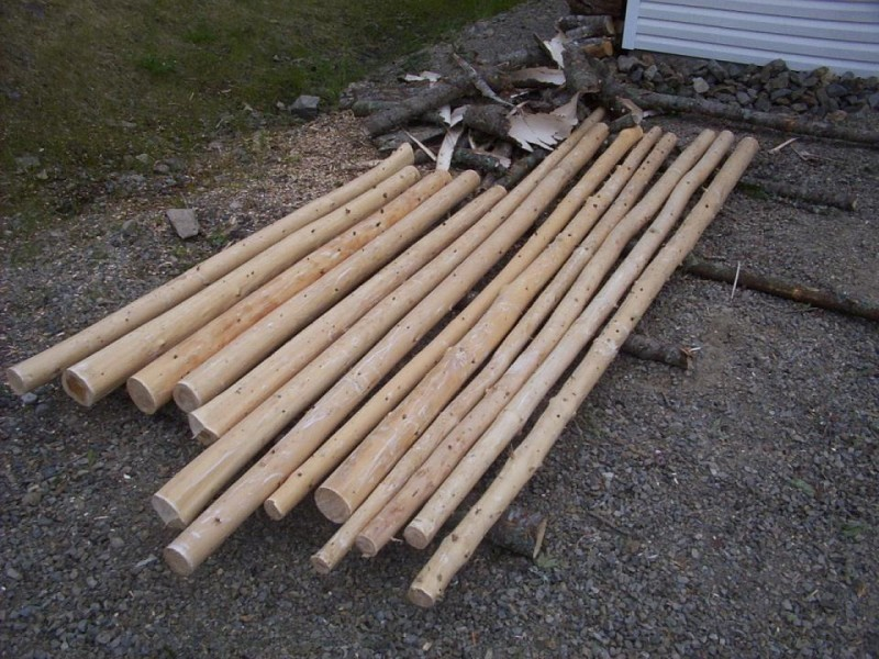 Log Pole Fence ~ Post and rail log fence part