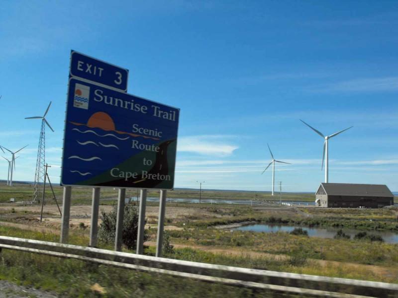 Roadside windmills between Nova Scotia and New Brunswick