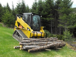 Cat 257B2 skidding logs,skidsteer
