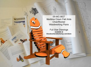 woodworking plans,patterns,projects,beach chiairs,poolside woodwen outdoor furniture,Maritime Clown Fish Kids Chair and Rocker Woodworking Plan