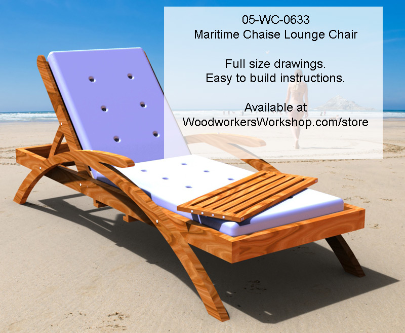 Maritime chaise lounge chair woodworking plan for Chaise longue plans