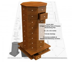 rotating case of drawers,woodworking plans,patterns,projects