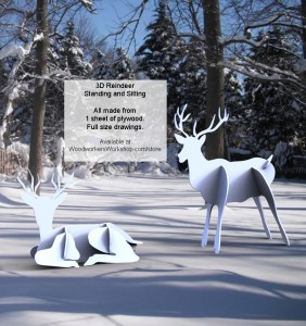 woodworking,plywood,3D,fitted,reindeer,plans,drawings,blueprints