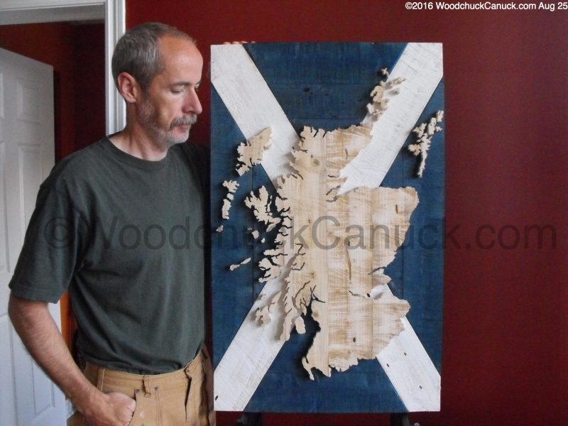 Scotland,map,flag,wooden maps,scroll sawing,woodworking