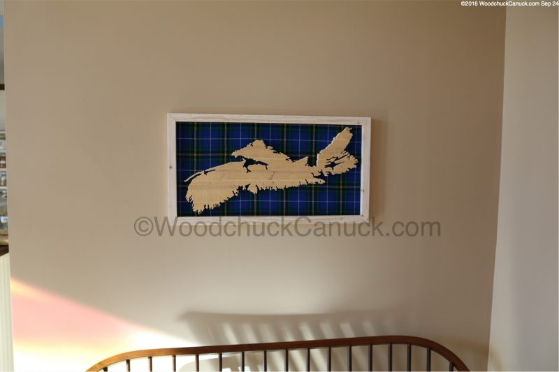 scrollsawn wooden maps of Nova Scotia,provincial tartan colours