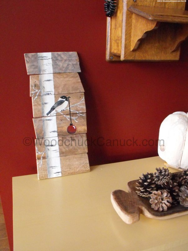 chickadees,pallet painting,crafts,country