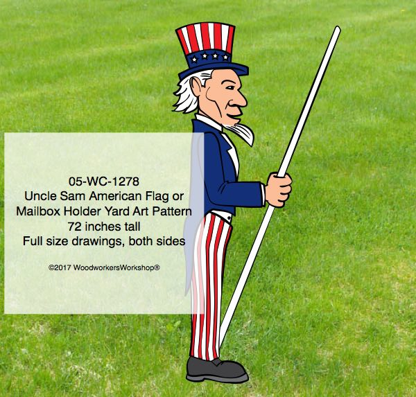 Uncle Sam Flag Holder Or Mailbox Holder Yard Art