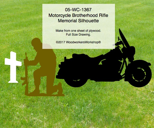 woodworking plans,Motorcycle Brotherhood Rifle Memorial Silhouette Woodworking Pattern,plywood