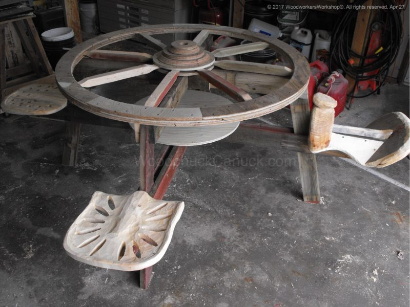 wagon wheel picnic table,tractor seats