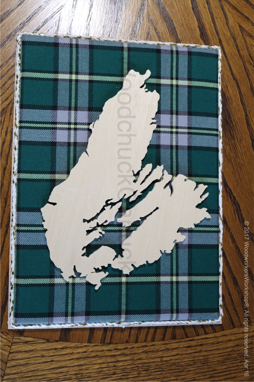 Cape Breton Wood Map With Tartan Woodchuckcanuck Com
