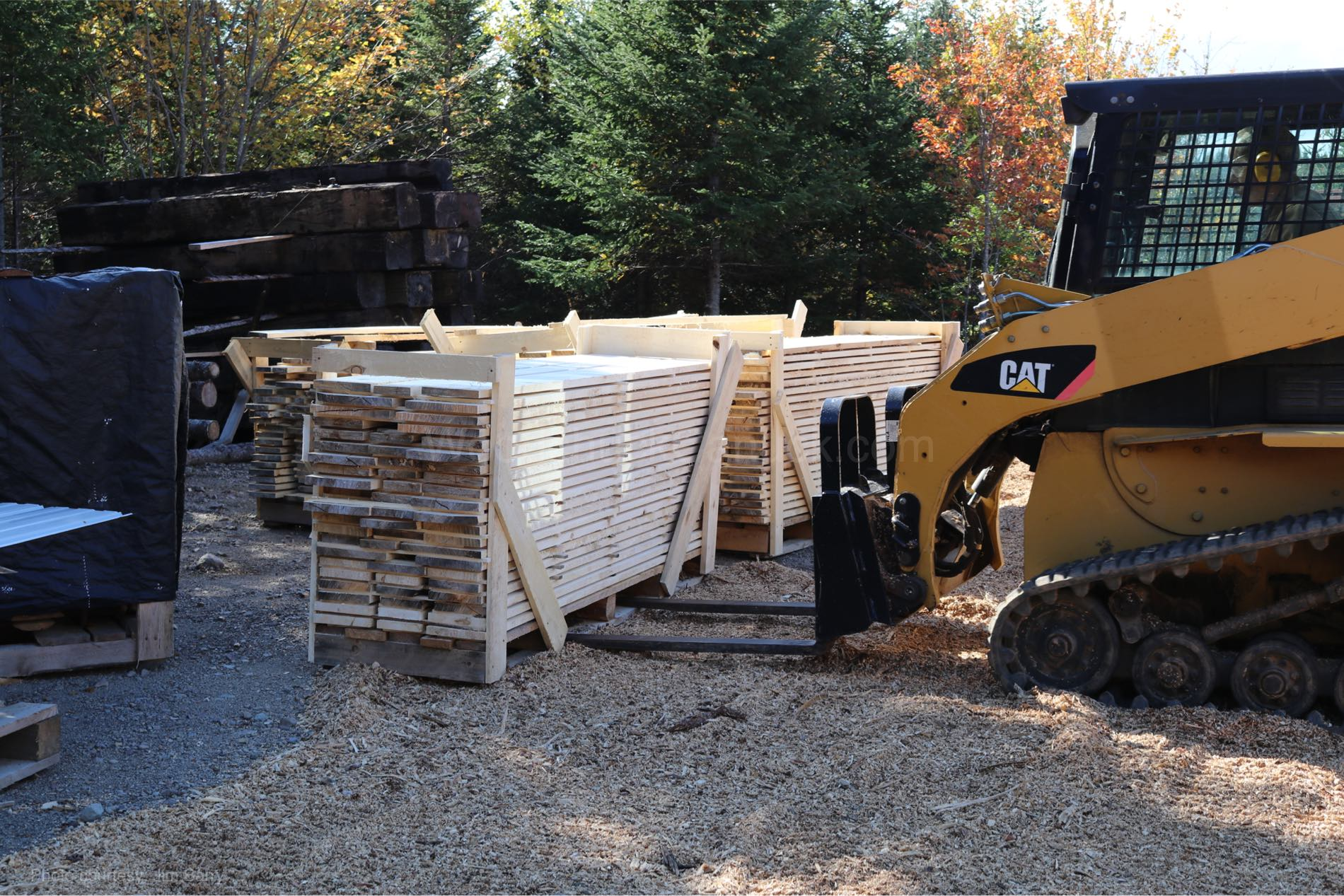 Pallets of lumber