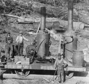 Coal-fired vertical boiler logging locomotive