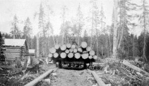 Road train pole road British Columbia.