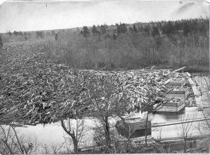 1869 log jam in Chippewa Falls.