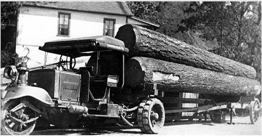 3 wheel truck hauling some big logs.