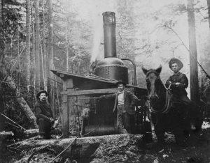 1890s Donkey engine, horse, and logging crew.