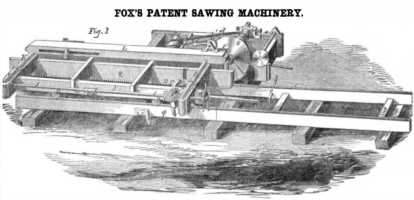 1855 Fox's patent for a sawing machine.