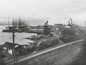 1888 Hastings Sawmill from the foot of Gore Avenue