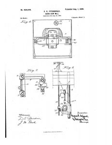1898 A mechanism to elevate and lower the saw carrying unit.