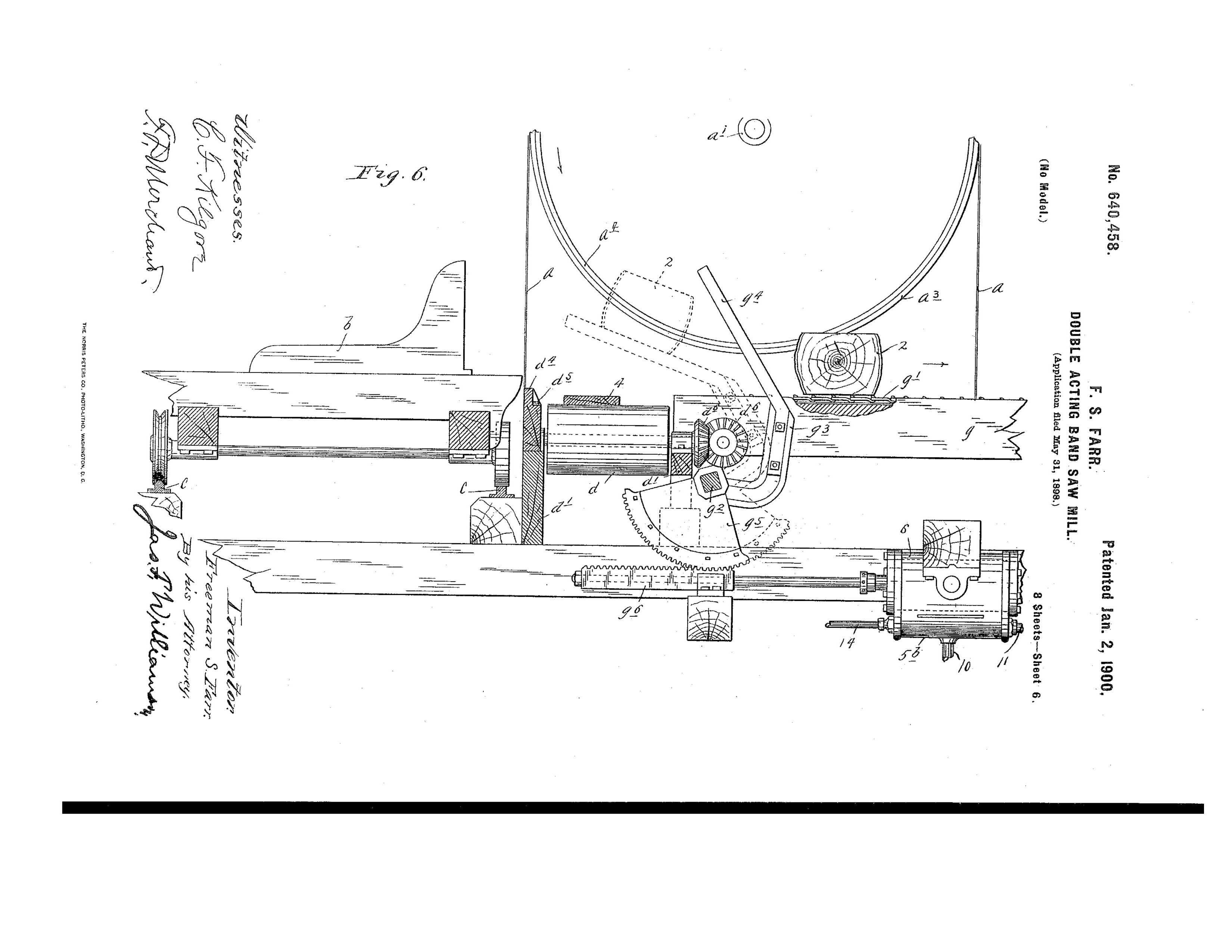 1898 Illustration of a double acting band saw mill.