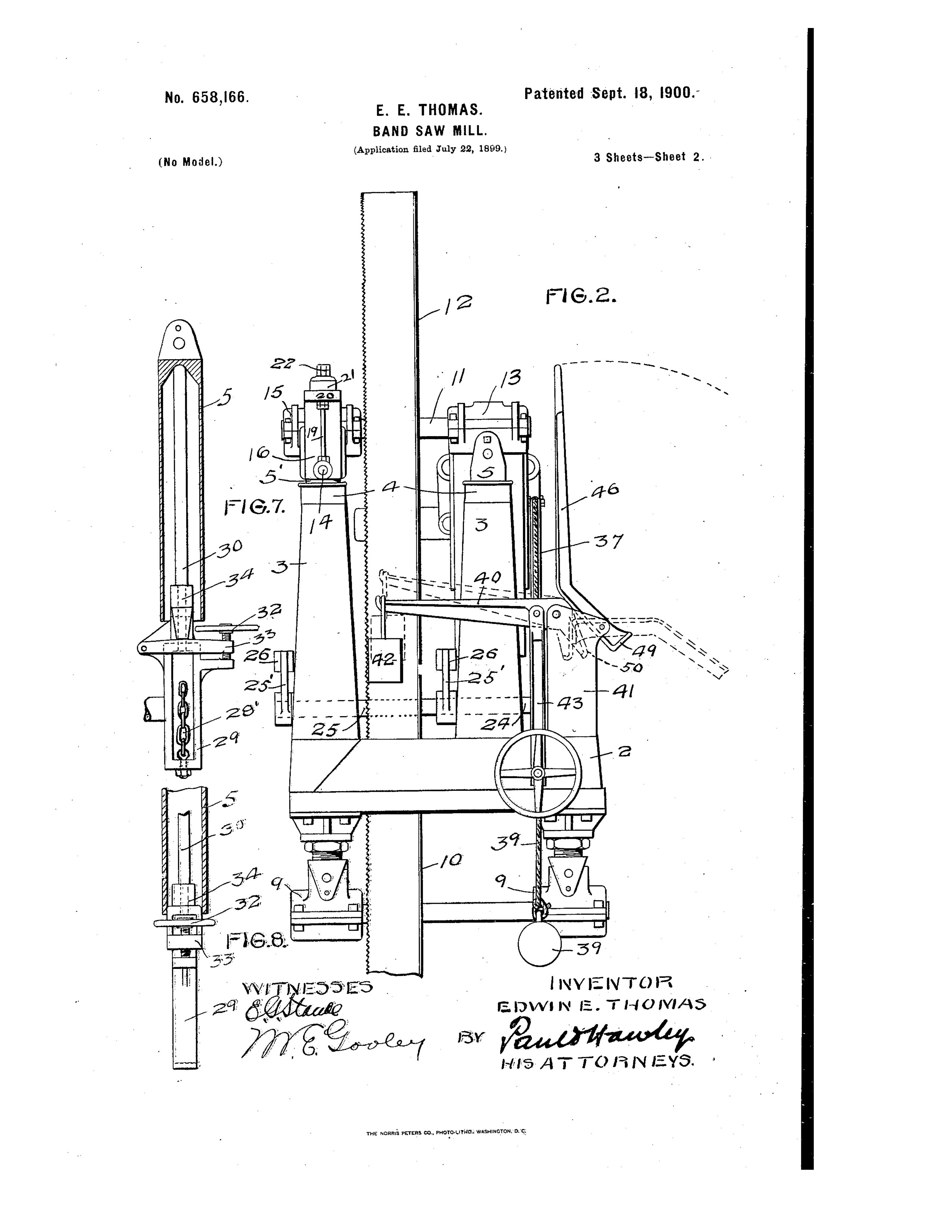 1899 Illustration of patent by Edwin E. Thomas (3 of 3)