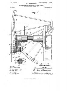 1902 Illustration of a patten for upper saw guide on band saw mills