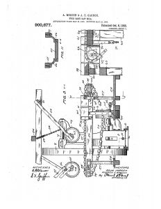 1903 Illustration of patent for a Twin Band Saw Mill