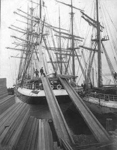 1904 Ship Loading lumber