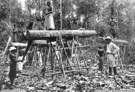1904 Stanleyville carpenters sawing lumber with saw pit saws.