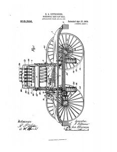 1907 Illustration of patent for a Horizontal Band Saw Mill