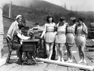 1929 wooden bathing costumes sewing.