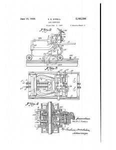 1937 Illustration of patent for a Log Carriage