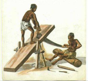 Illustration of sawyers in India.
