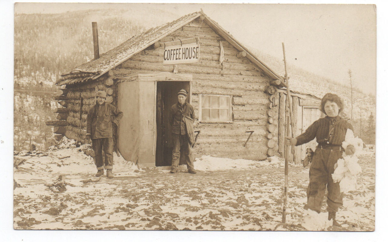 Turn of the century log coffee house.