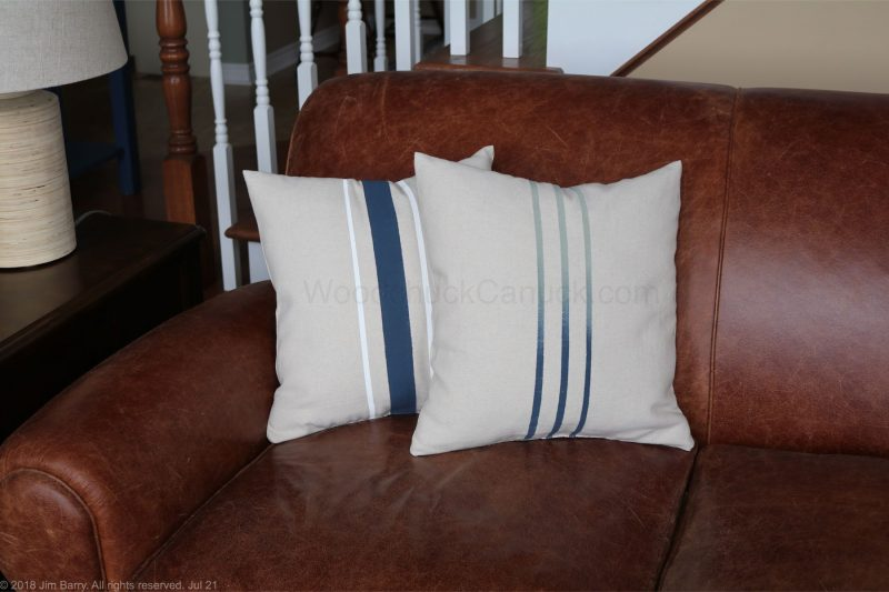grain sack,painting stripes,pillows,table runner