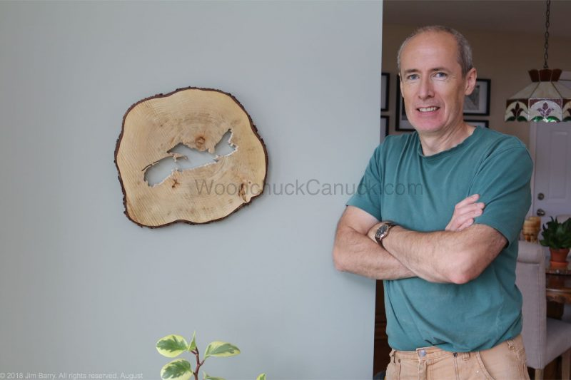DIY wood slice scroll saw map of Nova Scotia